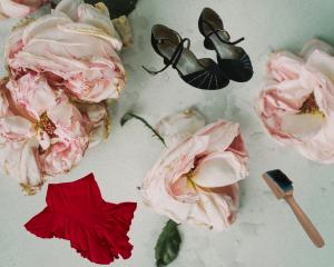 Rosen, roter Tanzrock, schwarze Tanzschuhe mit Strass, Schuhsohlen Bürste