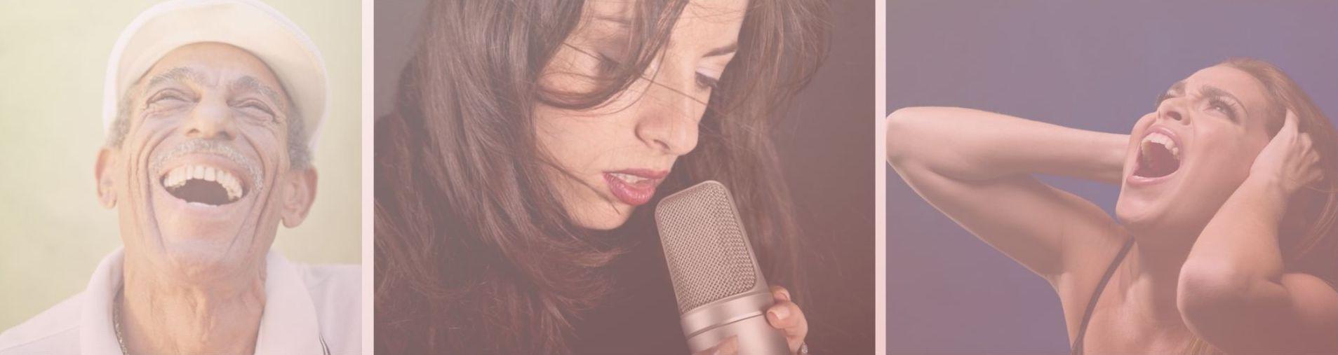 ein fröhlicher Mann, eine Frau mit Mikrophon, eine Frau ist verzweifelt, Emotionen in der Musik