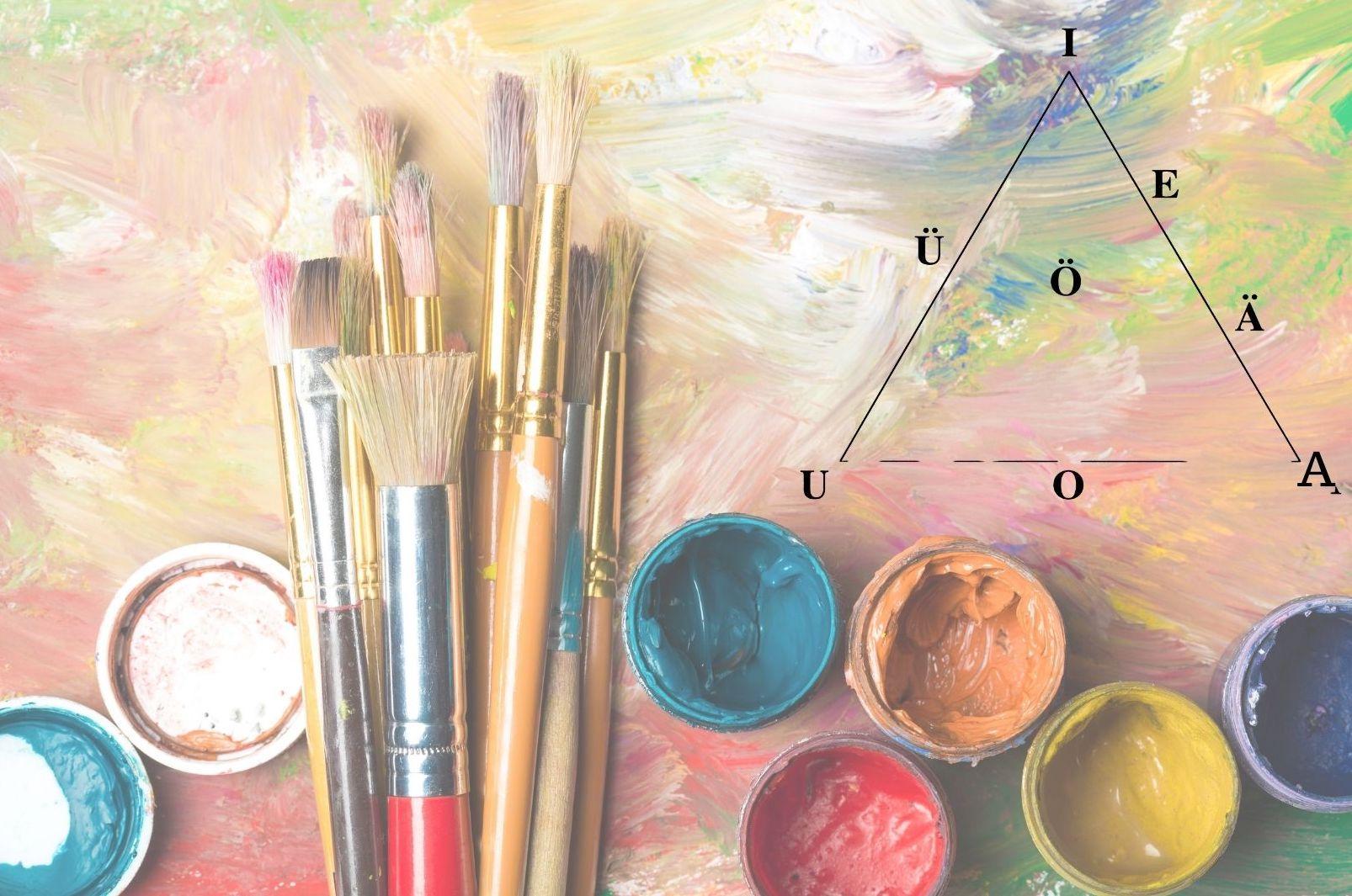 Pinsel, bunte Farben aus einem Tuschkasten, Vokaldreieck, Vokalfarbe Analogie