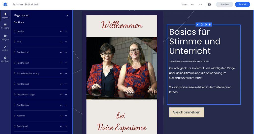 Leadpages Angebotsseite für das Basis Seminar